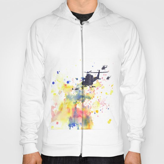 Helicopter Flying into Color Hoody