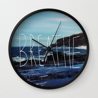 breathe Wall Clocks featuring Breathe by Leah Flores