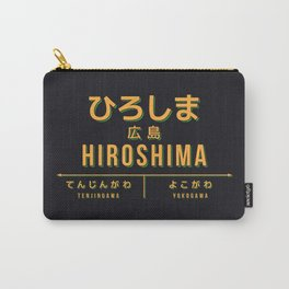 Vintage Japan Train Station Sign - Hiroshima City Black Carry-All Pouch