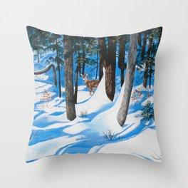 Deer in the woods Throw Pillow