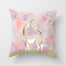 Baby Deer With Bird Watercolor Painting Throw Pillow