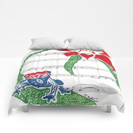 Coqui   (South American Poison Dart Frog with flower on sheet music) Comforters