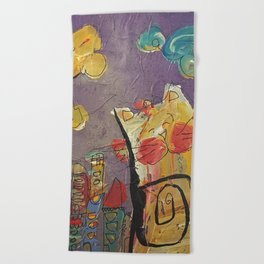 Cat in the city Beach Towel