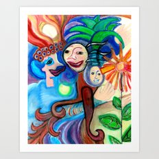 Family of Three Art Print