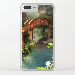 Wooden bridge over lotus pond Clear iPhone Case