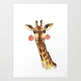 Girafe de Noël Art Print