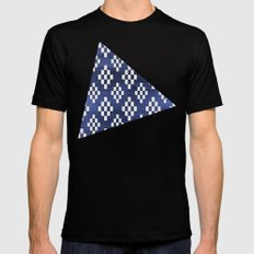 Tribal White Rectangle Pattern on Navy Ink Black MEDIUM Mens Fitted Tee