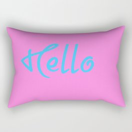 Hello Saying In Pink And Blue Rectangular Pillow
