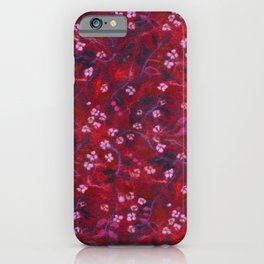 Apple Blossom, Floral Pattern, Faux Wool Texture, Red shades iPhone Case