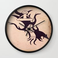mother Wall Clocks featuring Mother by Gerard Marinaccio