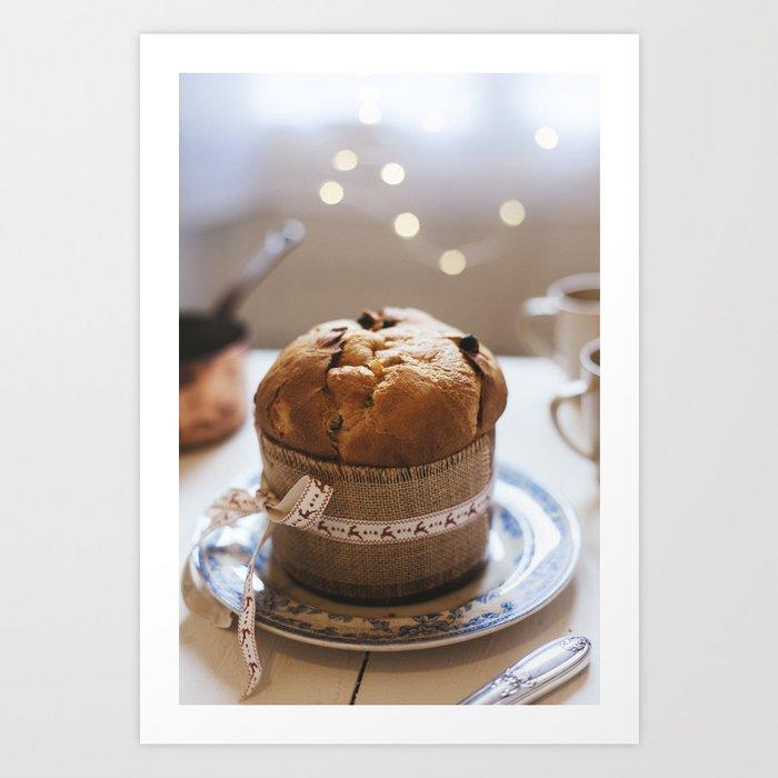 Italian Christmas Cake.Panettone Italian Christmas Cake On Wooden Table Art Print By Meeproductions
