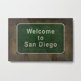 Welcome to San Diego road sign illustration Metal Print