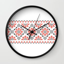 Traditional flowers cross-stitch folk art row white Wall Clock