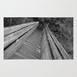 Wooden bridge Gießenbachklamm, black and white photo Rug