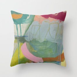 """""""first impressions"""" abstract painting in fresh colors pink, blue and yellow by Throw Pillow"""