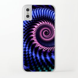 fractal, spiral, blue Clear iPhone Case