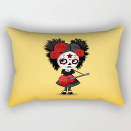Red and Yellow Big Eyes Sugar Skull Girl Playing the Guitar Rectangular Pillow