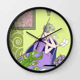 CLARICE: Art Deco Lady - Spring Lilac Wall Clock