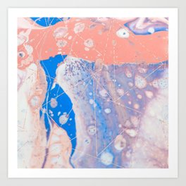blue and peach marble with rose gold pattern Art Print