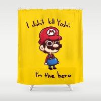 mario Shower Curtains featuring Mario by HeliPeach