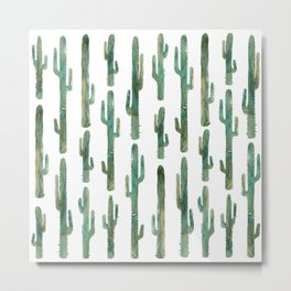 Green Cactus Pattern Metal Print