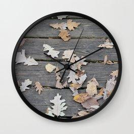 Brown Oak Leaves on Boardwalk Wall Clock