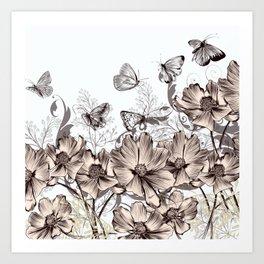 Butterfly Flowers And Butterflies Stencil Art Print