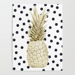 Gold Pineapple on Black and White Polka Dots Poster