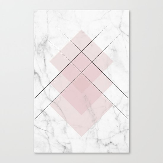 White Marble Scandinavian Geometric Blush Pink Squares Canvas Print
