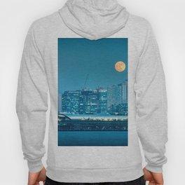 Super Moon over city skyline Hoody