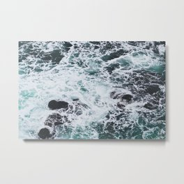 OCEAN - ROCKS - FOAM - SEA - PHOTOGRAPHY - NATURE Metal Print