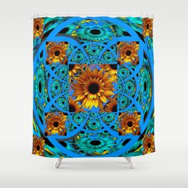 AWESOME BLUE & GOLD SUNFLOWERS  PATTERN ART Shower Curtain
