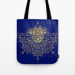 Sacred Lotus Mandala – Navy & Gold Palette Tote Bag