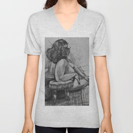 Curly Haired Woman Study in Charcoal Unisex V-Neck