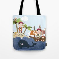 pirates Tote Bags featuring pirates by elisapesteguia