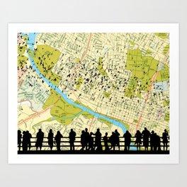 Austin Bats Congress Bridge flying - Austin Map Background Art Print