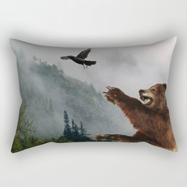 The Trickster - Raven & Grizzly Bear Art Print Rectangular Pillow