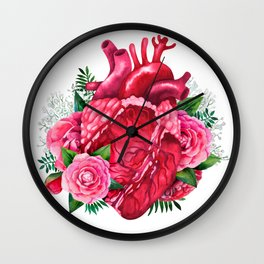 Watercolor heart with floral design Wall Clock