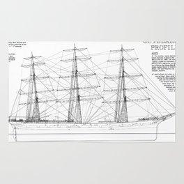 Balclutha Ship Outboard Profile Diagram Rug