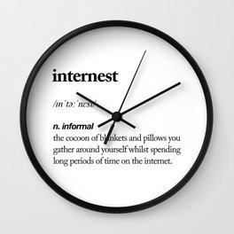 Internest black and white contemporary minimalism typography design home wall decor bedroom Wall Clock