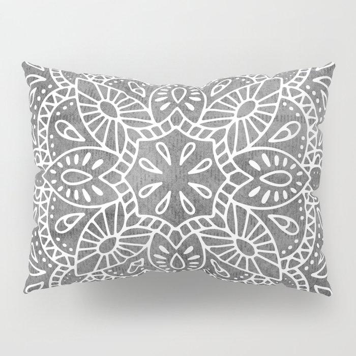 Mandala Vintage White on Ocean Fog Gray Pillow Sham by naturemagick ...