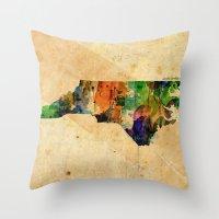 north carolina Throw Pillows featuring North Carolina by TiannaHarman