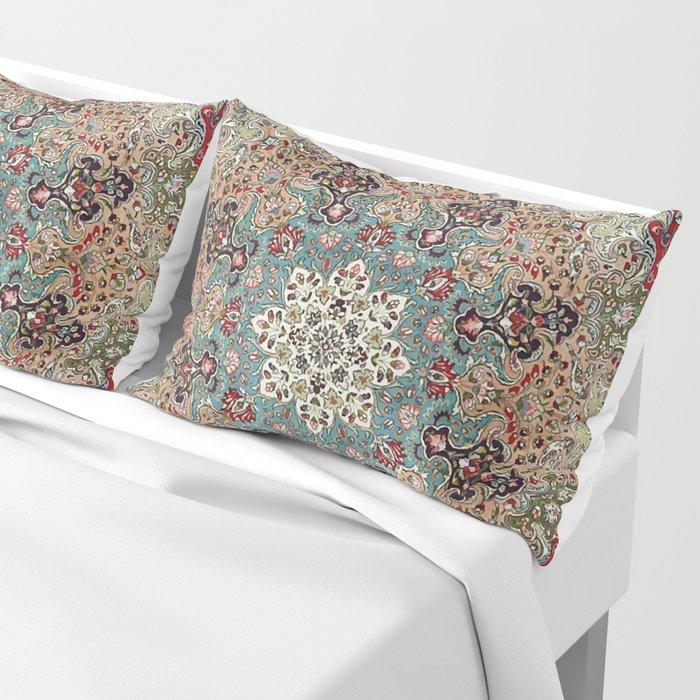 Antique Red Blue Black Persian Carpet Print Pillow Sham