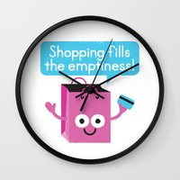 sagan Wall Clocks featuring Retail Therapy by David Olenick