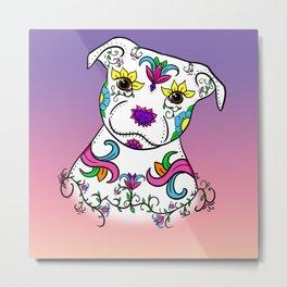 Staffordshire Bull Terrier Sugar Skull Metal Print