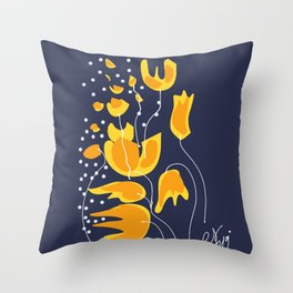 Yellow Flowers in the Night Minimal Art Throw Pillow