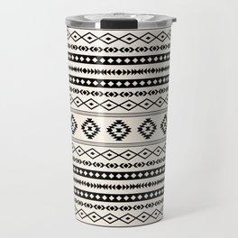 Aztec Black on Cream Mixed Motifs Pattern Travel Mug