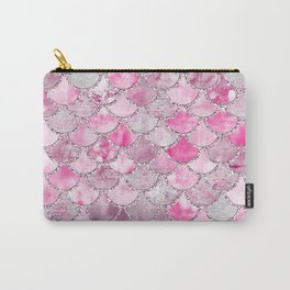 Trendy Colorful Pink Watercolor Glitter Mermaid Scales Carry-All Pouch