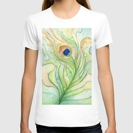 Green Watercolor Peacock Feather and Bubbles T-shirt