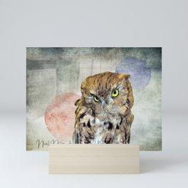 Cute Rustic Screech Owl Fence Modern Cottage Chic Country Art A653 Mini Art Print